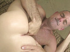 Grey mustache daddy makes his boy moan